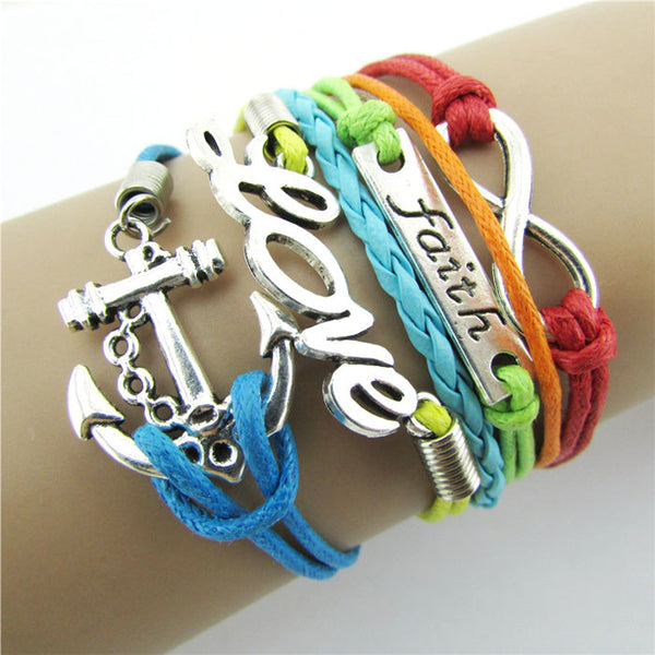 Colorful Infinity Friendship Love Anchor Leather Charm Bracelet  DIY