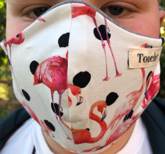 Limited edition flamingo spot cotton lycra fitted face covering