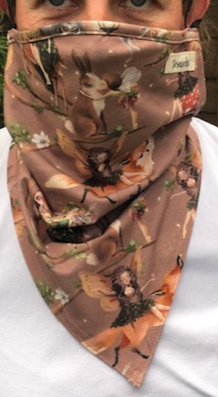 Fairy tale printed cotton lycra hanki hem face covering/ scarf/ snood