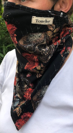 Halloween limited edition Skull Roses & spider printed hanki hem face covering