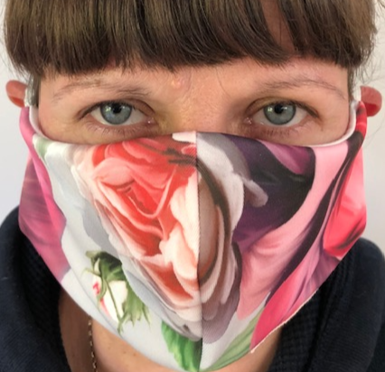 Rose print face-covering