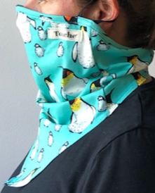 Penguin digital print on cotton lycra hanki hem face covering/ snood