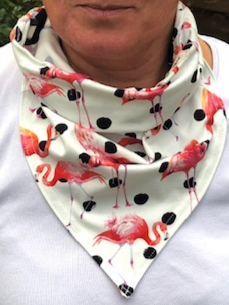 Limitied edition flamingo & black spotted cotton lycra hanki hem face covering/ scarf