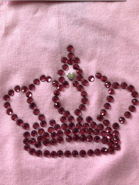 Handmade Princess heatseal gem crown vest