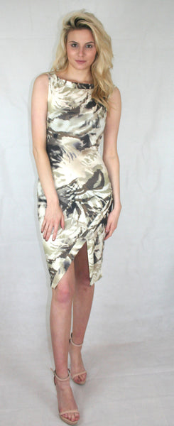 Cowl Neck Tropical Camo Print Dress