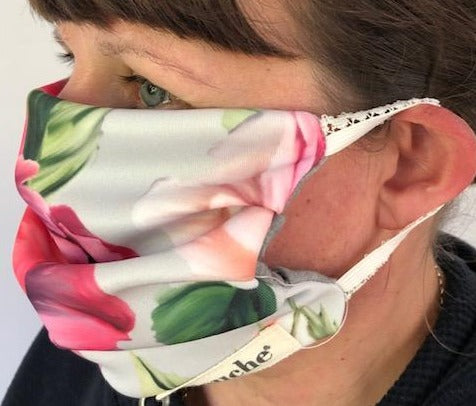 Pleated  Rose print face-covering
