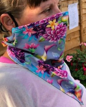Limited Edition face covering/scarf 95% Cotton, 5% Lycra  Humming bird one size