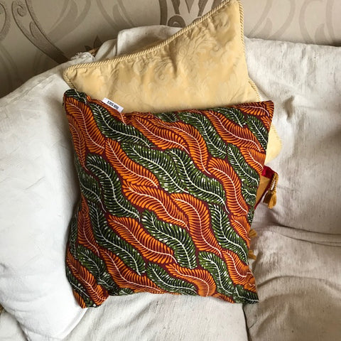 African Inspired Leaf Cushion - Dark Wheat