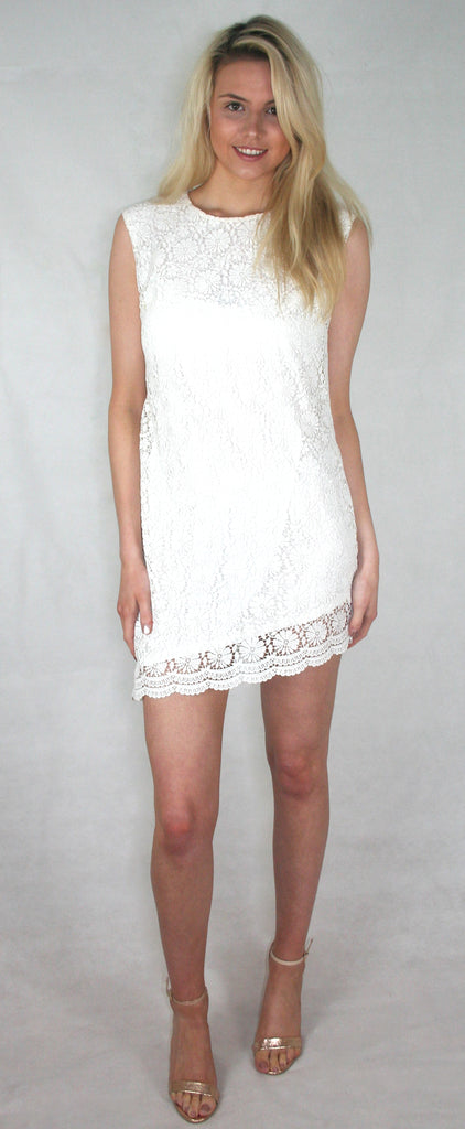 white asymmetric lace dress