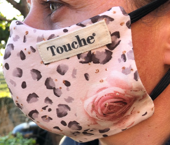 Limited edition rose & animal cotton lycra fitted face covering