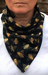 Black base gold bee printed cotton lycra hanki hem face covering/ scarf