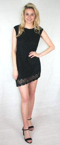 black asymmetric lace dress