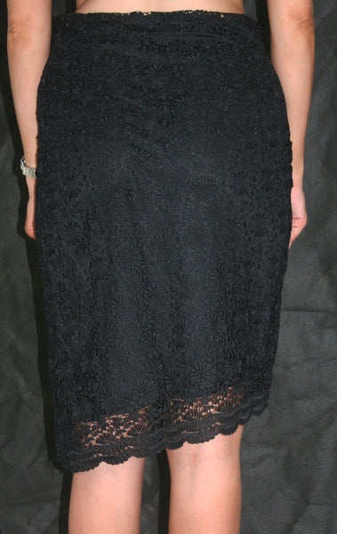 black lace knee length occasion skirt touche