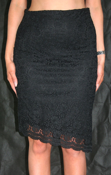 black lace knee length occasion skirt