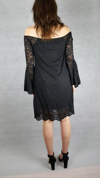 black lace bell sleeve dress ladies