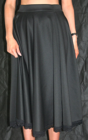 black longline skirt with lace trim