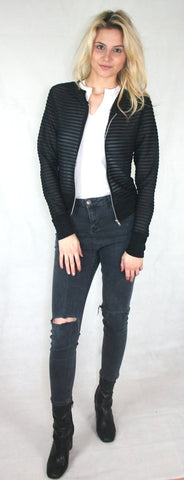 black ribbed jacket