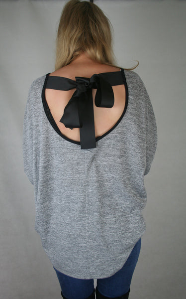bow back slouch jumper grey