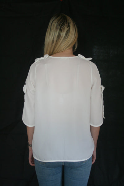 cold shoulder bow top back