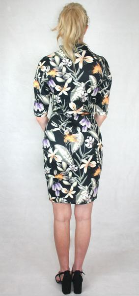floral keyhole neck panelled sleeve dress ladies fashion