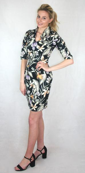 floral keyhole neck panelled sleeve dress ladies