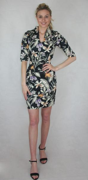 floral keyhole neck panelled sleeve dress