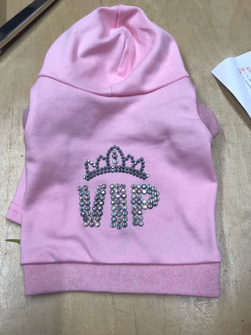 VIP Princess diamonte heat seal crown pet hoodie