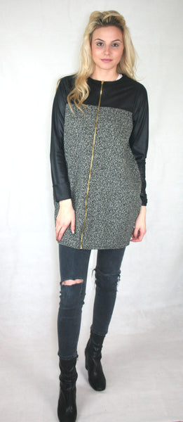 longline tweed jersey jacket