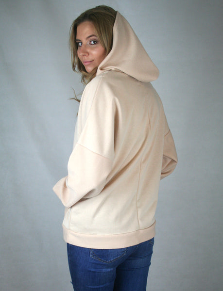 nude v neck loop back hoodie ladies