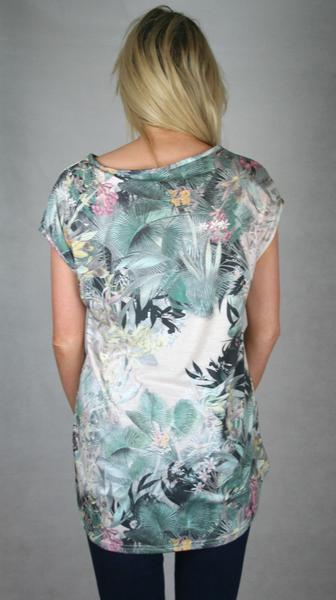 tropical gathered tee ladies