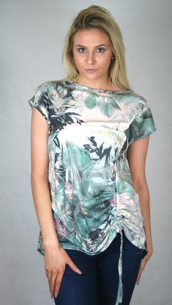 tropical gathered tee
