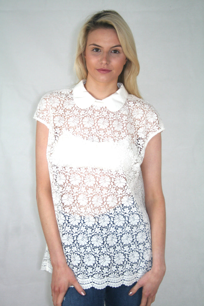 white lace collar tee