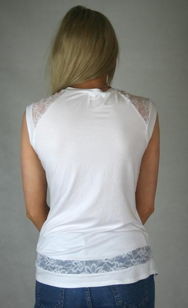 white lace panel tee ladies