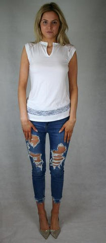 white lace panel tee