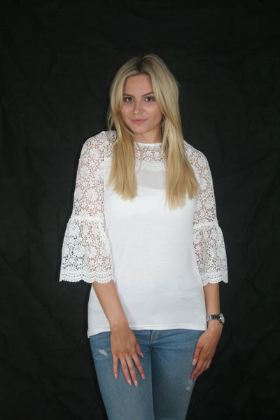 white lace yoke top