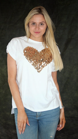 white t shirt with gold heart