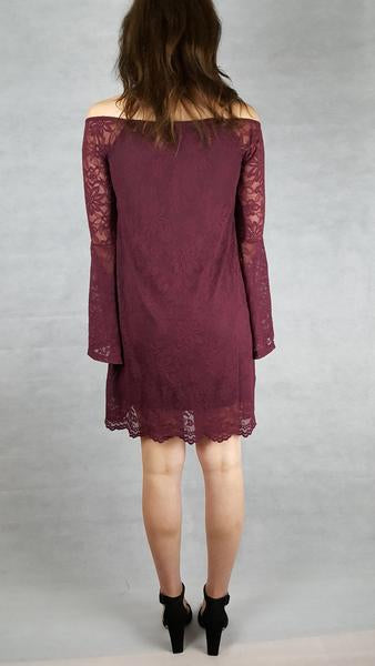 wine lace bell sleeve dress ladies