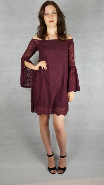 wine lace bell sleeve dress