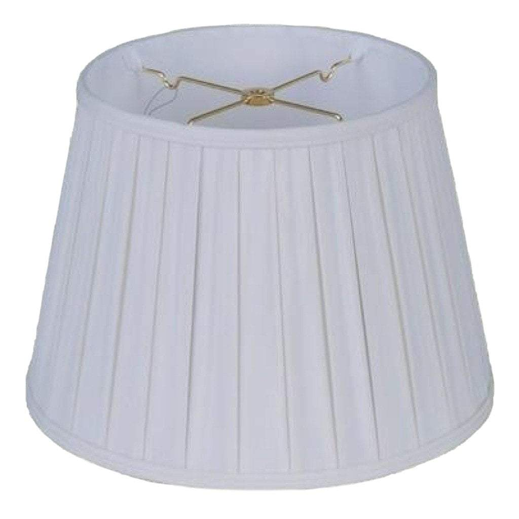 lamp shade 10 x 14 x 10'' (Washer 5/8'' Recess) / 100% Pongee Silk / Oyster Euro Open Box Pleated 100% Real Silk Lamp Shade