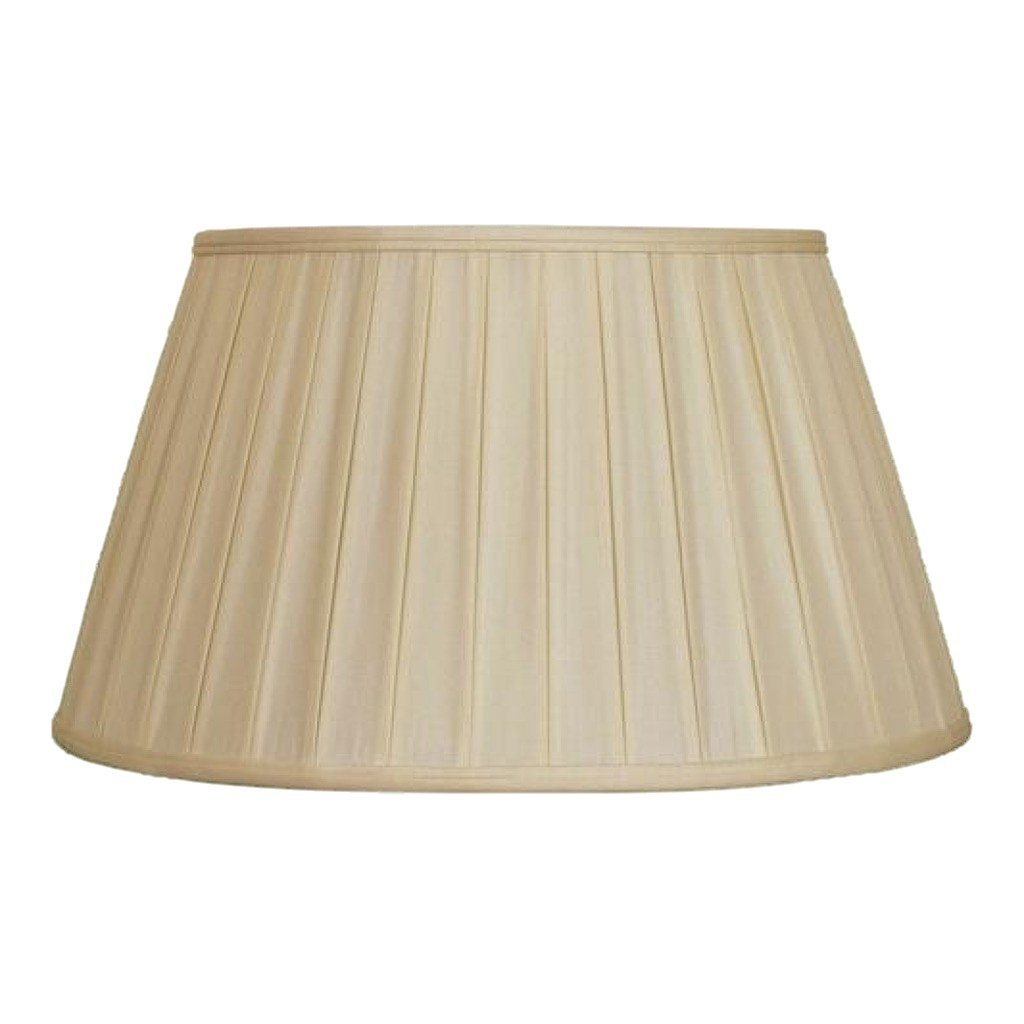 lamp shade 12 x 17 x 10'' (Washer 5/8'' Recess) / 100% Pongee Silk / Sand Euro Floor English Pleated 100% Real Silk Lamp Shade