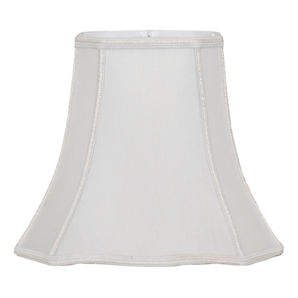 lamp shade (6.5 x 5) x (12 x 10) x 10'' (Braided trim - Washer) / 100% Pongee Silk / Oyster Clover Rectangle Bell with Braided Trim 100% Real Silk Lamp Shade