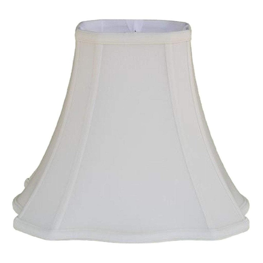 lamp shade 6 x 13 x 11'' / Anna Rayon / Off White Cut Corner Scallop Square Bell Lampshade