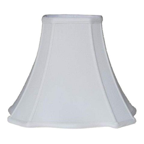 lamp shade 6 x 13 x 11'' / Supreme Satin / Natural White Cut Corner Scallop Square Bell Lampshade