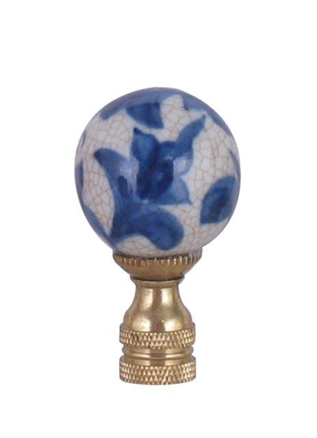 EE lamp accessories Blue & White Floral Large Ball Finial