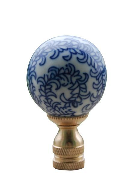 EE lamp accessories Blue & White Floral Pattern Large Ball Finial