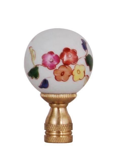 EE lamp accessories Large Porcelain Floral Ball Finial