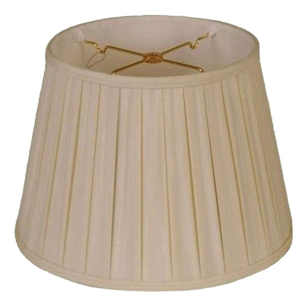 EE lamp shade 10 x 14 x 10'' (Washer 5/8'' Recess) / 100% Pongee Silk / Sand 100% Pongee Silk Sand Euro Open Box Pleated Lamp Shade