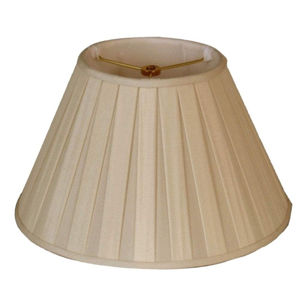 "EE lamp shade 7 x 14 x 9"" (Washer 5/8"" Recess) 100% Pongee Silk Sand Empire Flared Style Box Pleated Lamp Shade"