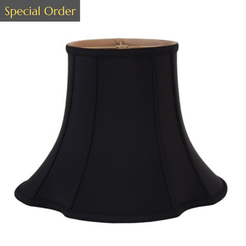 EE lamp shade 9 x 18 x 13.5'' (Washer) Black Gold Lining Anna (Faux Silk) Maltese Bell Lampshade - 9 x 18 x 13.5'' (Washer)