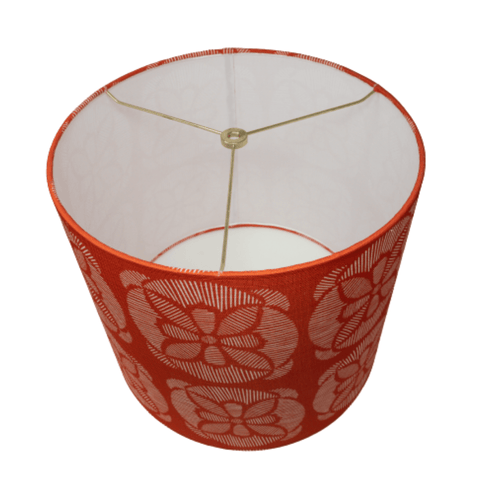 LAMP SHADE SOLUTION lamp shade Red Floral Custom Drum Laminated Linen Lamp Shade - 13'' x 14'' x 12''